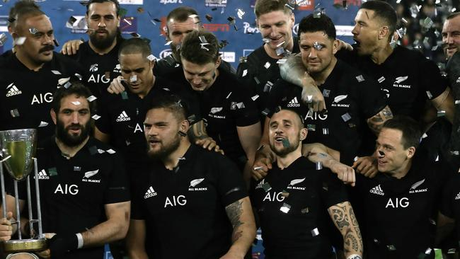 New Zealand celebrate after winning the 2018 Rugby Championship in Buenos Aires.