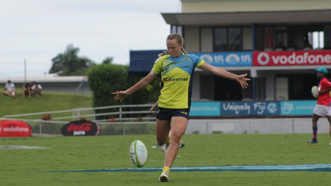 Emma Sykes scored two tries against Tonga. Photo: Oceania Rugby