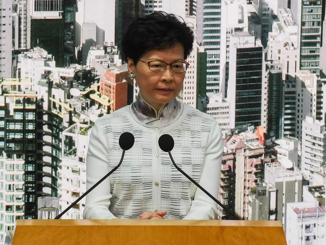 Hong Kong chief Chief Executive Carrie Lam suspended work on the hugely divisive extradition bill. Picture: AFP