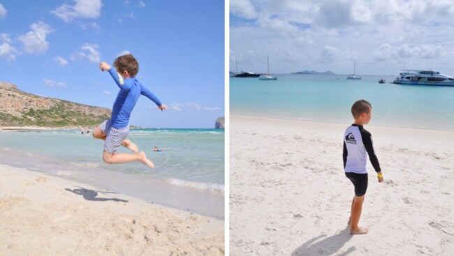 LEFT: Balos Beach, Crete. RIGHT: Whitehaven Beach. Image: Supplied.