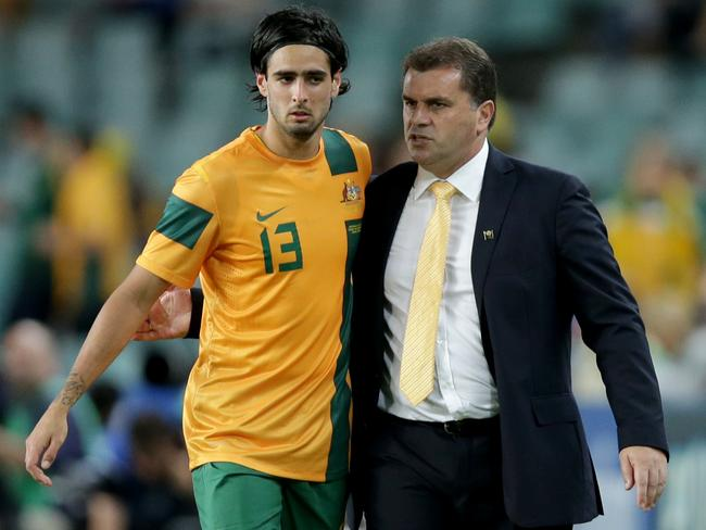 Rhys Williams and Ange Postecoglou. Picture: Gregg Porteous