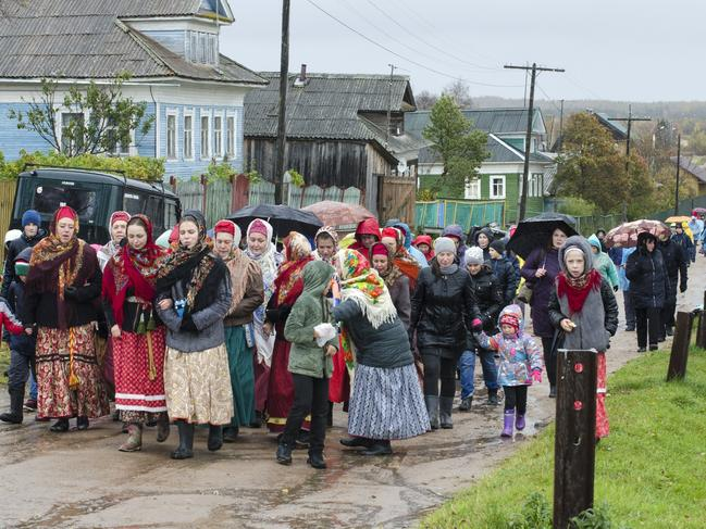 Nyonoksa villagers, seen taking part in a folk festival, are reportedly sceptical about what really caused the blast. Picture: Sergei Yakovlev/AP