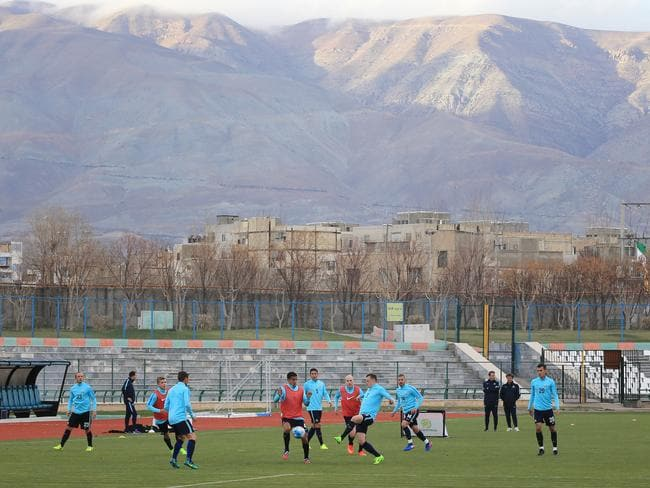 The Soceroos train ahead of the Socceroos World Cup qualifier against Iraq in Tehran, Iran.