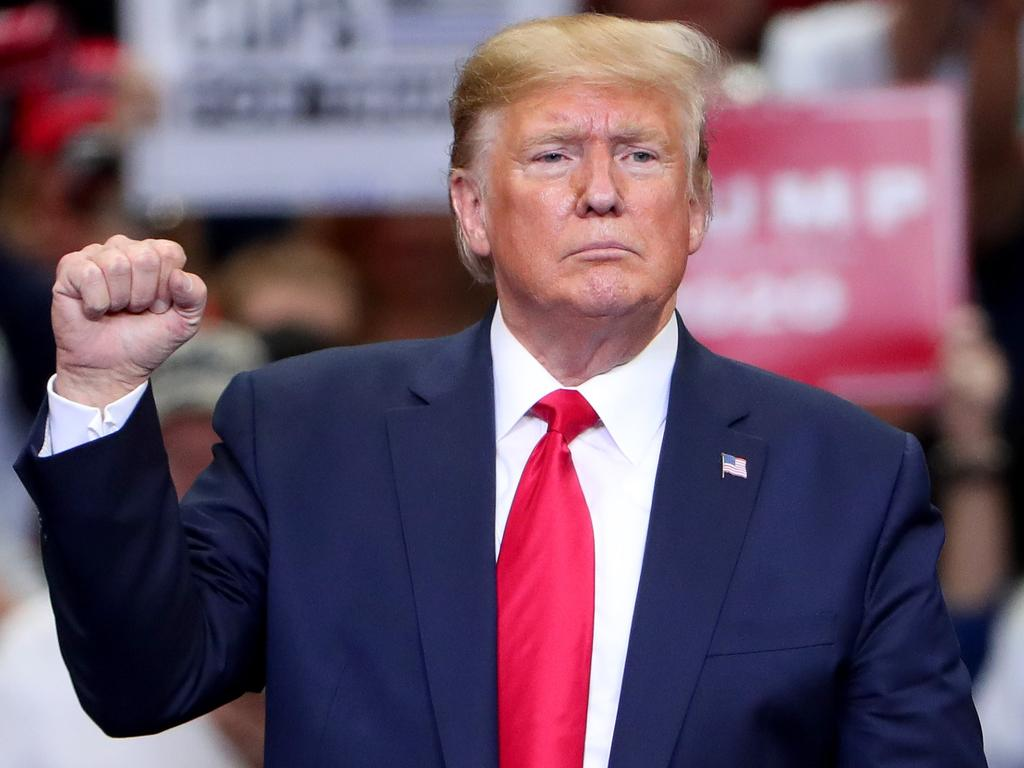 """Mr Trump defended his """"unconventional"""" approach to the Syrian ceasefire — and to the choice of his own resort as the location for the 2020 G7 summit. Picture: Tom Pennington/Getty Images/AFP"""