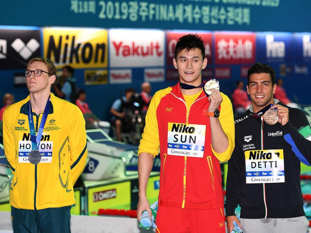 Bronze medallist Gabriele Detti chose not to participate in Mack Horton's protest.