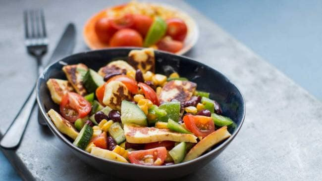 BBQ corn and haloumi salad. Image: Supplied. 28 by Sam Wood.