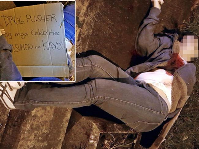 Aurora Moynihan, 45, was shot five times in the chest and dumped on a street corner in Quezon City. The inset shows a sign left near her body which reads: 'Celebrity drug pusher, you're next.'