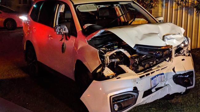 The Subaru was one of three cars damaged in a crime spree. Photo: Western Australia police.
