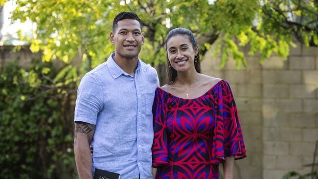 Israel Folau with his wife Maria at Kenthurst Uniting Church after a Sunday service. Picture: Hollie Adams