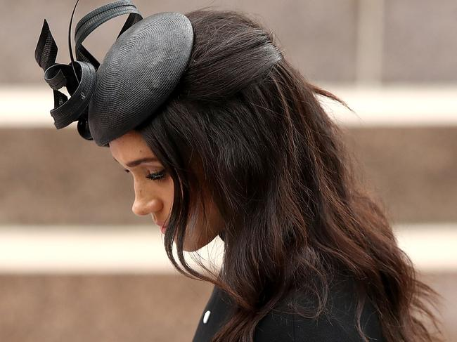 The Duchess wore a Philip Treacy head-piece. Picture: Getty Images
