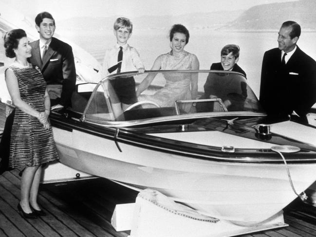 Queen Elizabeth II, the Prince of Wales, Prince Edward, Princess Anne, Prince Andrew and the Duke of Edinburgh on board the Royal Yacht Britannia during a visit to Norway. It was used for a royal Christmas card in the late-'60s/early-'70s. Photo: PA Images via Getty Images