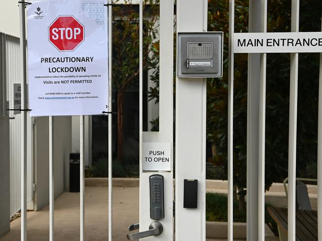 An aged care centre has signs warning people not to enter. Picture: Getty