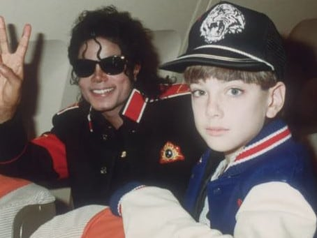 Michael Jackson and James Safechuck who talks about abuse in Leaving Neverland. Picture: Supplied