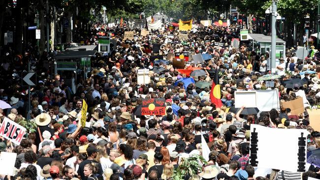 The Invasion Day rally in Melbourne's CBD. Picture: Nicole Garmston