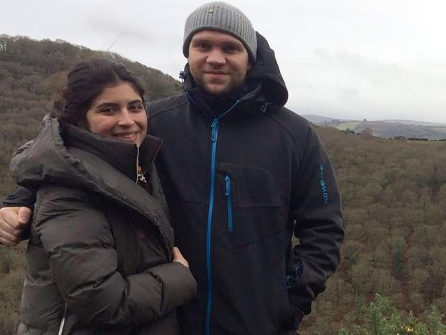 British student Matthew Hedges and his wife Daniela Tejada (L) posing in an undisclosed location. Picture: Supplied