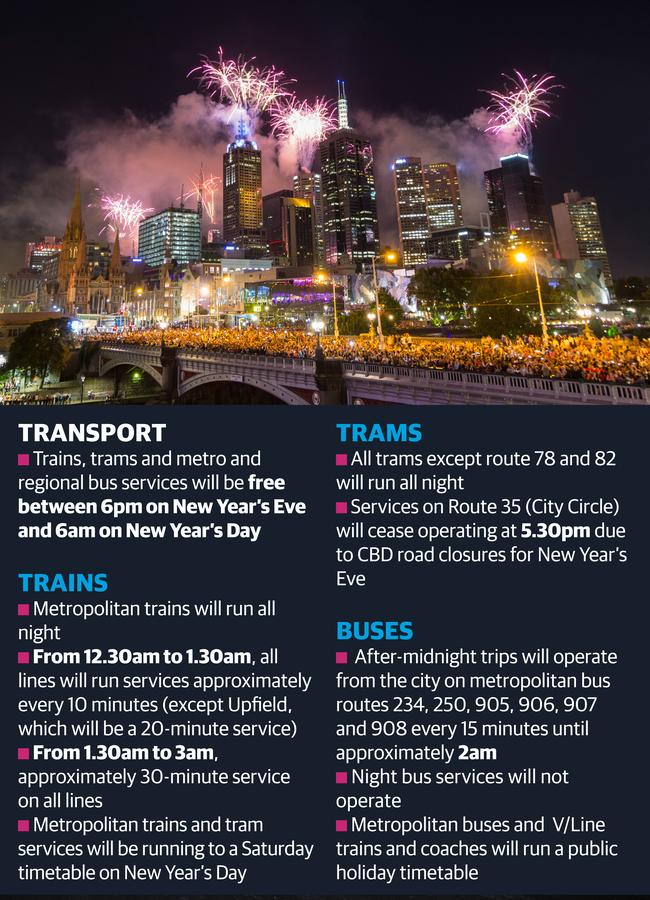 Melbourne New Years Eve 2018 fireworks Map public transport
