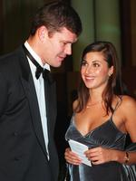 MAY 26, 1999 : Businessman James Packer & model girlfriend (now wife) Jodie Meares at dinner for Centenary of Federation in Canberra.