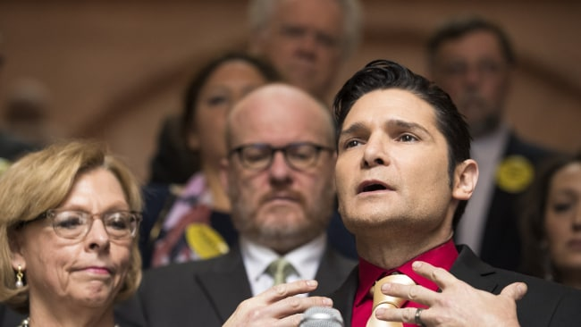 Actor Corey Feldman speaks in support of the Child Victims Act on March 14, 2018. Image: Brett Carlsen/Getty Images.