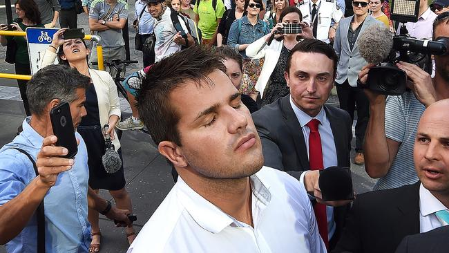 Gable Tostee outside the Supreme Court in Brisbane after his acquittal. Picture: Dave Hunt/AAP