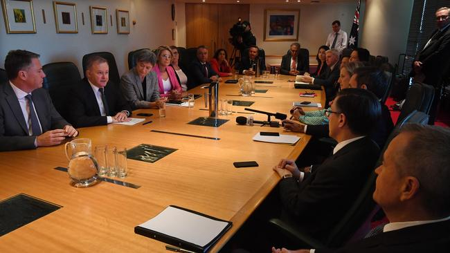 Anthony Albanese leads a shadow cabinet meeting in Brisbane last week. Picture: AAP