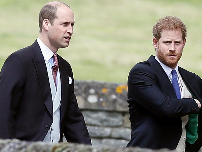 Britain's Prince William, left, and his brother Prince Harry arrive for the wedding of Pippa Middleton and James Matthews at St Mark's Church. Picture: Getty