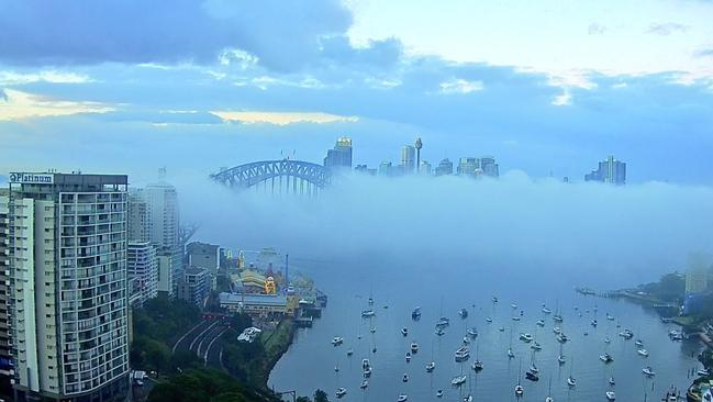 The fog will start to lift later this morning. Picture: Twitter/Channel 7