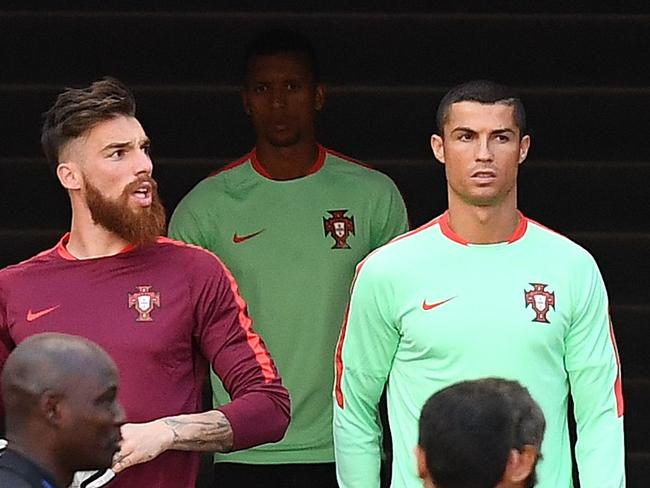 Portugal's forward Cristiano Ronaldo arrives for a training session at the Kazan Arena