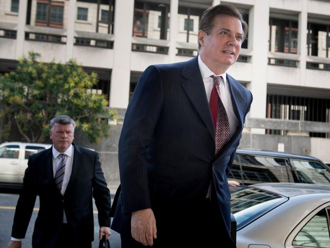 Paul Manafort, Donald Trump's former campaign chief, arrives for a hearing at US District Court in Washington, DC. Picture: AFP
