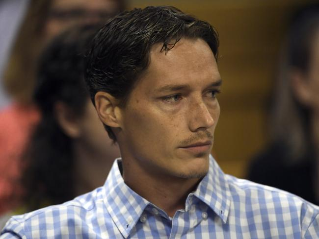 Shanann Watts' brother, Frankie Rzucek stared down his brother-in-law in court. Picture: AP