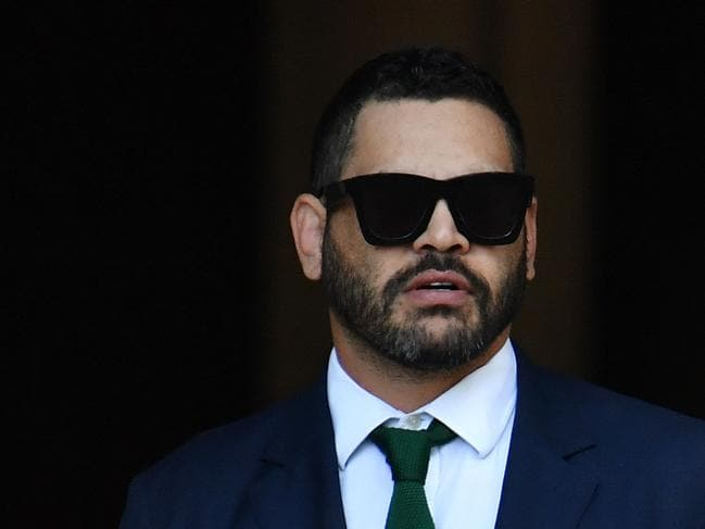 Rabbitohs captain Greg Inglis arrives at South Sydney headquarters. (AAP Image/Dean Lewins)