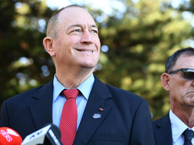 Queensland Senator Fraser Anning at yesterday's press conference in Cronulla, in Sydney's south. Picture: Joel Carrett/AAP