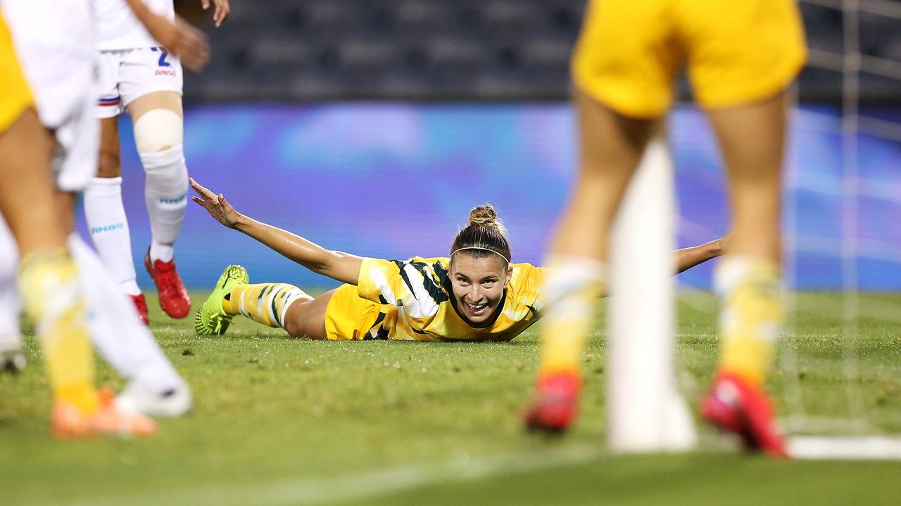 Matildas superstar Steph Catley celebrates a goal in World Cup qualifiers.