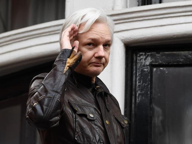 Wikileaks founder Julian Assange speaks on the balcony of the Embassy of Ecuador in London. Picture: Justin TALLIS / AFP