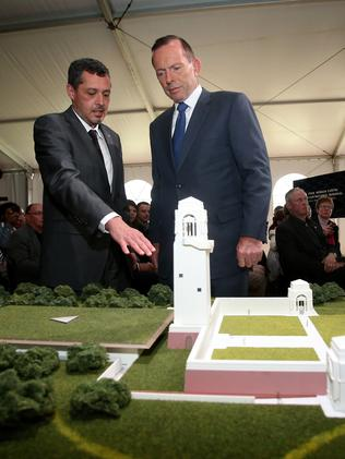 Former prime minister Tony Abbott at the unveiling of the Sir John Monash Centre Design at the Australian National Memorial, Villers-Bretoneux in 2015. Picture: Brad Hunter/Office of the Prime Minister