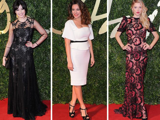 Daisy Lowe, Lily Donaldson and Kelly Brook attend the 2013 British Fashion Awards. Picture: Getty