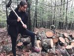 "Can we ask why you need all those logs, Shanina? ""Been chopping wood all weekend in WOODSTOCK"". Picture: Shanina Shaik / Instagram"