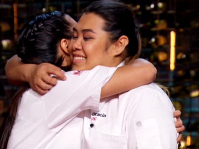 The sisters embrace after being announced as the winners.