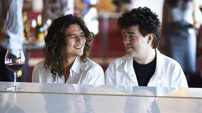 Unbreakable ... Luke Arnold as Michael Hutchence with Andy Ryan as Andrew Farriss in INXS: Never Tear Us Apart.
