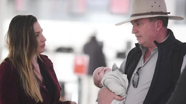 Barnaby Joyce with his new partner Vikki Campion and their son Sebastian in July last year. Picture: Channel 9