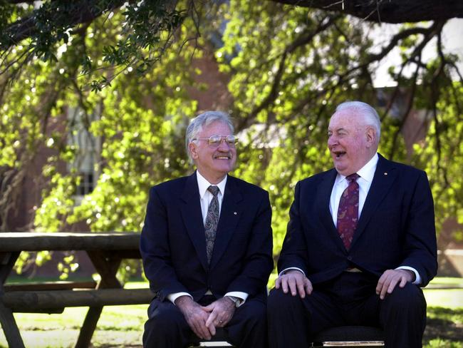 Is it still good for you? ... John Deeble, Adjunct Professor of Economics at ANU and one of the architects of Medicare talks with Gough Whitlam after the Inagural Whitlam Forum Medicare 30 Years on. Picture: Chris Pavlich