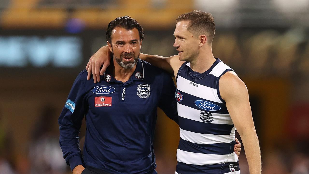 Coach Chris Scott and skipper Joel Selwood. Picture: Michael Klein