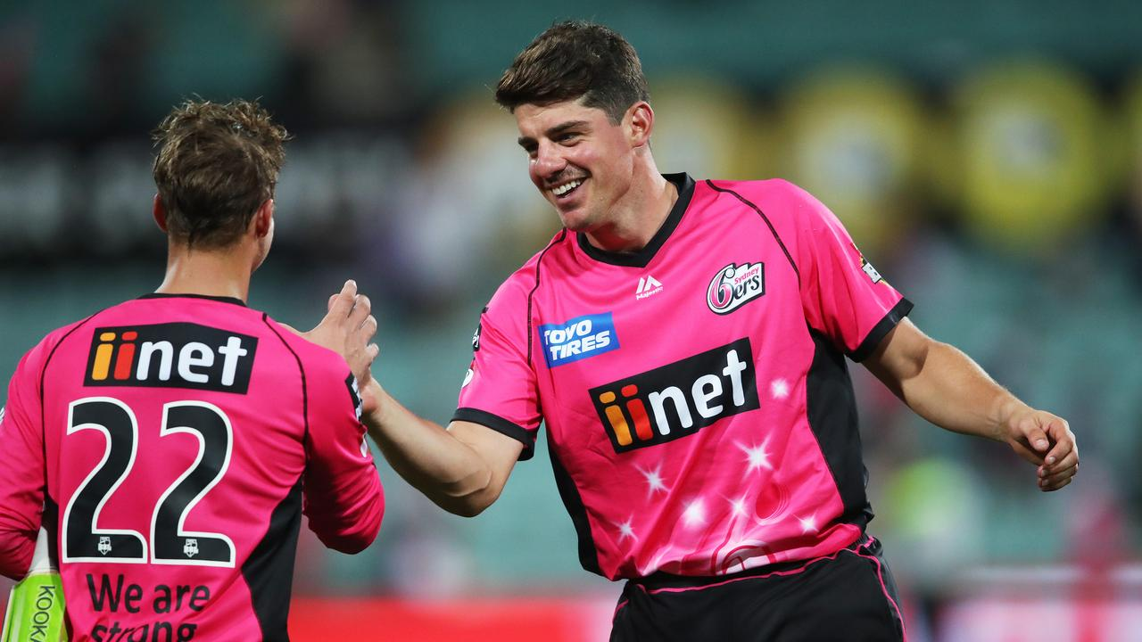 Sixers captain Moises Henriques congratulates Sixers' Josh Philippe on his match winning innings – here's hoping they both star for the sake of my SuperCoach BBL side