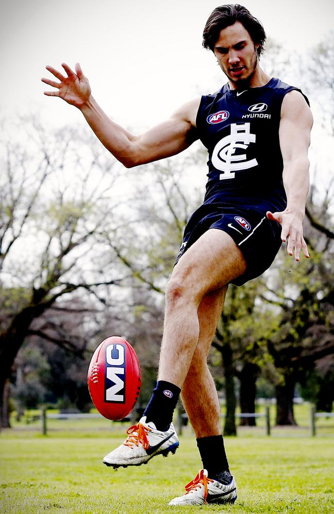 Troy Menzel kicks the ball at Optus Oval in an exclusive shot for the Herald Sun. Picture: Wayne Ludbey
