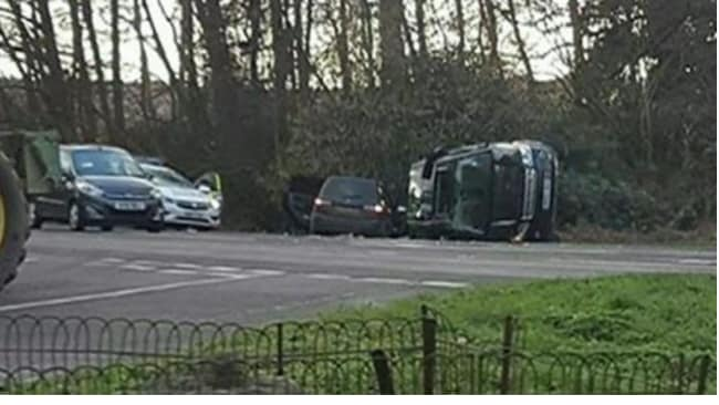 Prince Philip's car rolled in the accident. Source: Facebook