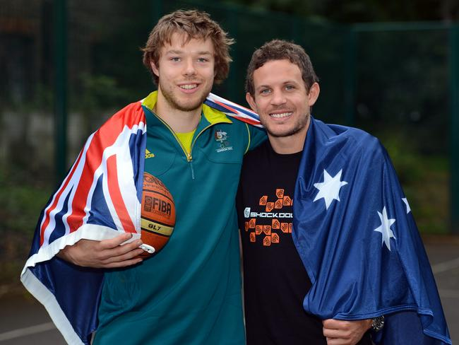 Matthew Dellavedova with Collingwood premiership player Luke Ball.