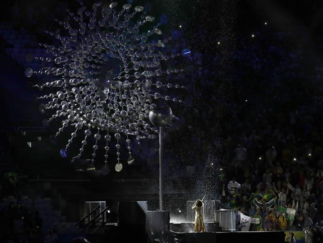 The Olympic flame extinguished.