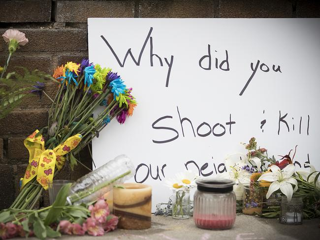 A makeshift memorial is left at the scene where Justine was shot. Picture: Elizabeth Flores/Star Tribune