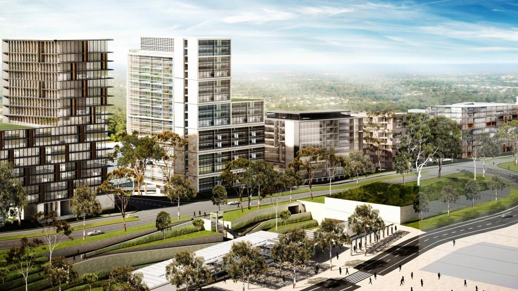 Toplace artist impressions of the 46 high rise residential towers proposed for Cherrybrook Village.