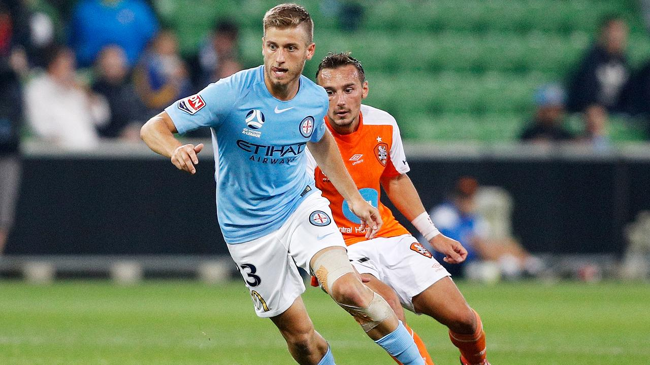Stefan Mauk of Melbourne City runs with the ball during the A-League Elimination Final match between the Melbourne City and the Brisbane Roar