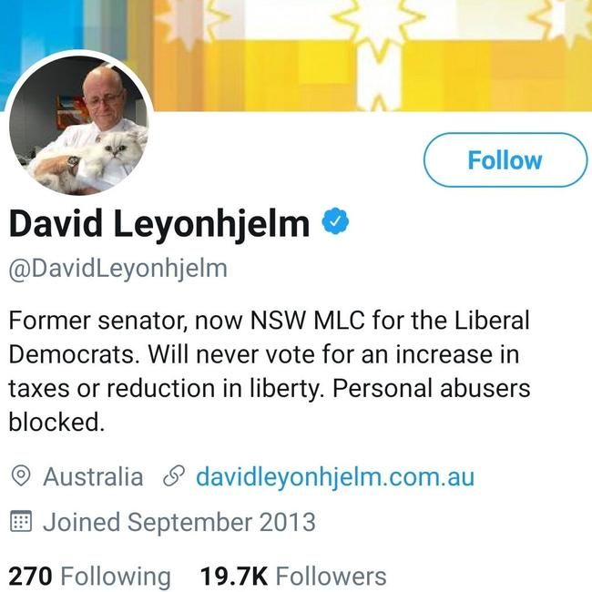 David Leyonhjelm had updated his Twitter bio to reflect the win. Picture: Twitter